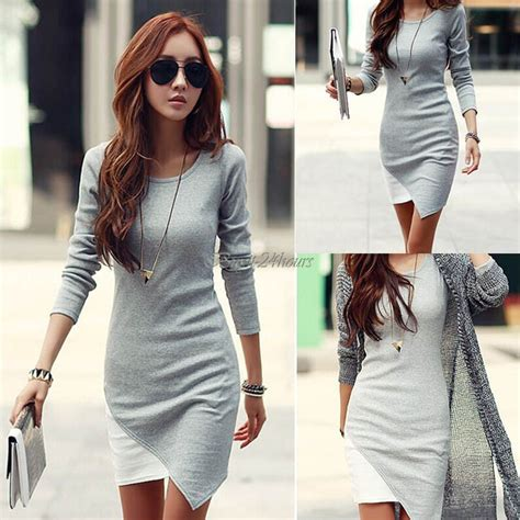 Women Winter Dress New Elegant Casual Sweater Dress Sexy Bodycon Patchwork Irregular Dress Lady ...