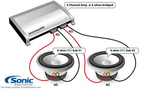 4 channel 2 svc 4 ohm sub bridged 2 svc 8 ohm sub