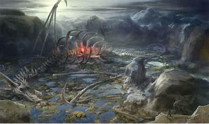 Dragon Fantasy Bones Skeleton Painting Landscape Dragons