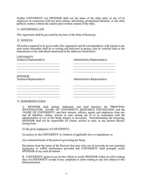 clinical study agreement template  word   formats