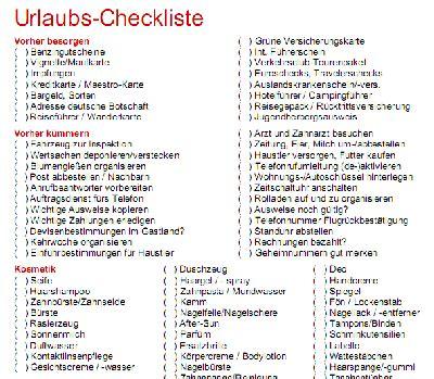 urlaubs checkliste kostenlos checkliste f 252 r den urlaub kostenlos runterladen
