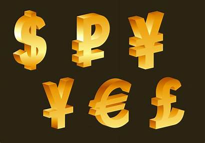 Symbols Currency 3d Vector Golden Icons Financial