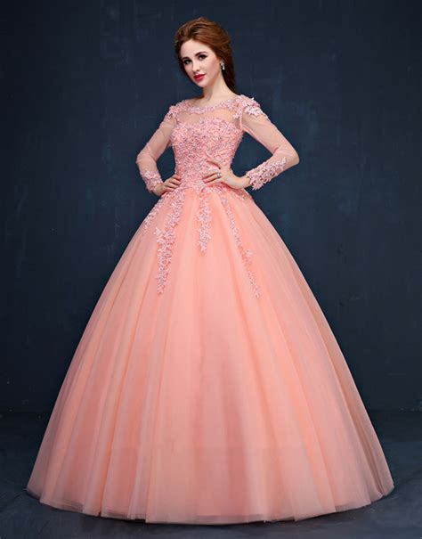 long sleeve colourful elegant lace ball gown