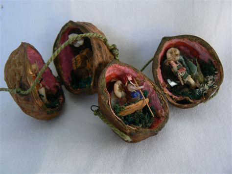 rare vintage walnut christmas ornaments tiny very old from antiquesartmore on ruby lane
