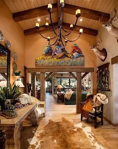 Cowboy, Decoration, Ideas, Entry, Southwestern, With, Hardwood, Flooring, Cowboy, Western, Fabric, Vaulted