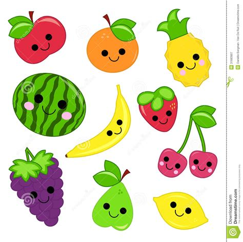 Cute Fruits and Vegetables Clip Art