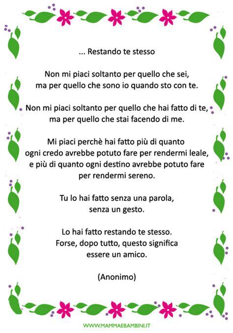 Cornici Per Poesie by Poesia Con Cornice Sull Amicizia Da Stare Mamma E Bambini