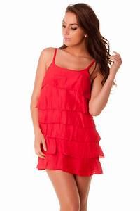 belle petite robe legere a volants rouge grossiste With robe d été pas cher
