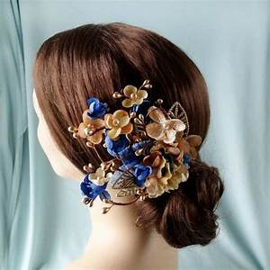 Royal Blue And Gold Flower Hair Accessory Bridal Hair