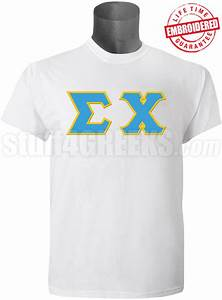 sigma chi greek letter t shirt white embroidered with With sigma chi letter shirt