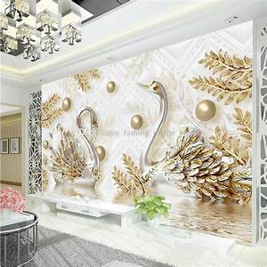 Luxury Wallpaper Jewelry Swan Wall Mural Custom 3d ...