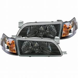 2pcs Front Black Face Headlight Lamp Fits For Corolla