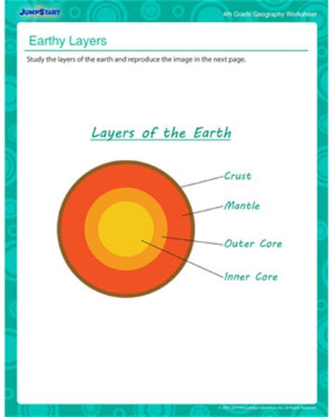 earth layers free geography printable worksheet for