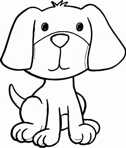 Dog Cartoon Coloring Puppy Pages Sitting Down