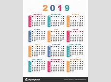 Calendário 2019 Semana Começa Com Domingo Ilustração