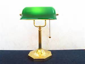 Bankers Lamp Green Glass by Vintage Brass Bankers Desk Lamp With Green Glass Shade
