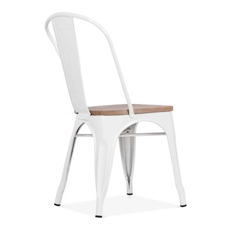 chaise bois metal white side chair with elm wood seat cult furniture