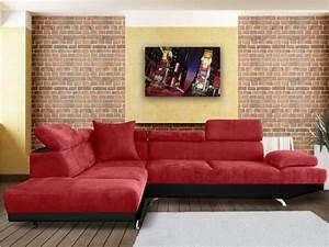 Canape Angle Rouge : canap d 39 angle xl en tissu romain bicolore rouge et noir ~ Teatrodelosmanantiales.com Idées de Décoration