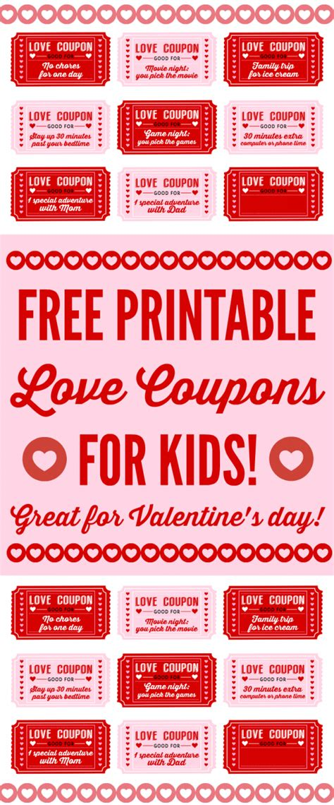 Free Printable Love Coupons For Kids On Valentine's Day