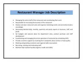 commercial manager responsibilities resume restaurant manager resume sle pdf
