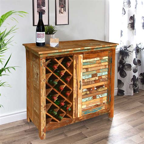 Garrard Rustic Reclaimed Wood Single Door Bar Cabinet W