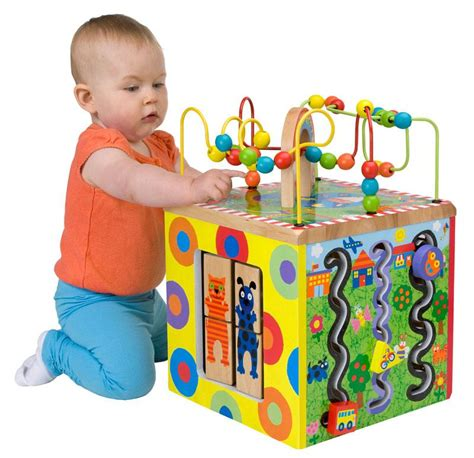 baby activity table wooden amazon com alex jr my busy town wooden activity cube