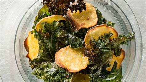 baked kale  sweet potato chips recipe health