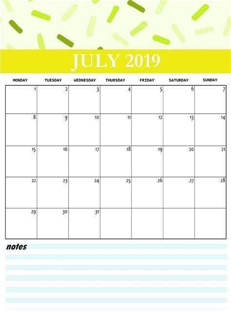 cute july  printable calendar printable calendar