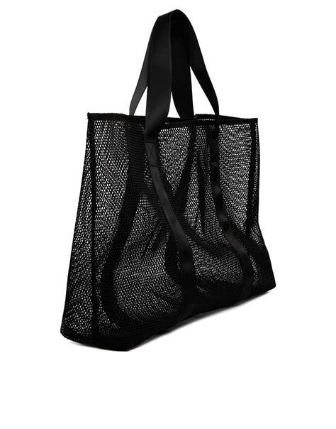 asos mesh beach bag  black lyst
