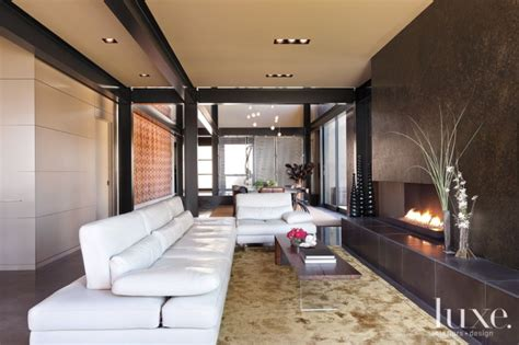 modern neutral living room  linear fireplace luxe
