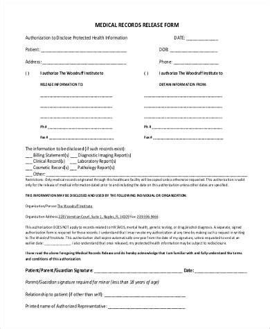 blank medical release form sle medical records release forms 9 free documents