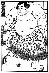 Coloring Culture Sumo Wrestler Pages Japanese Printable Books sketch template