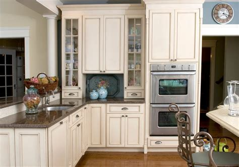 Magnificent Antique White Kitchen Cabinets with Large