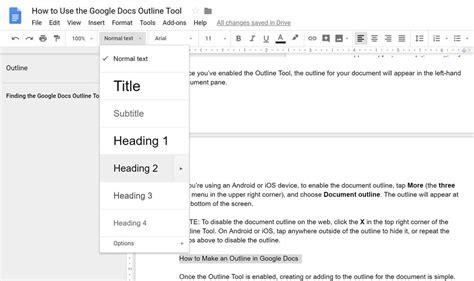 How to Use the Google Docs Outline Tool - bluevelvetrestaurant