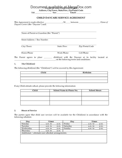 daycare contract template child daycare service agreement forms and business templates megadox