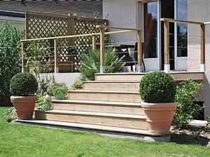 escaliers amenagements d39exterieur bois jardins With escalier de terrasse exterieur