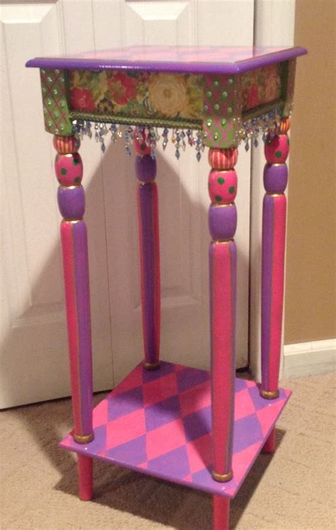 hand crafted custom hand painted accent side table harlequin  michele sprague design