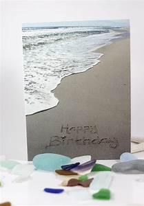 Happy Birthday Beach Writing Sand Writing Card Ocean