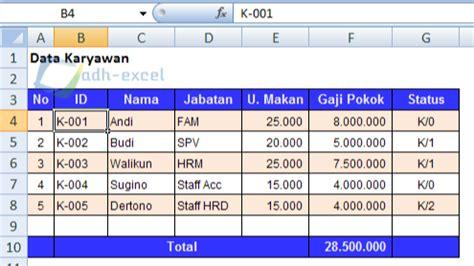 Contoh slip gaji guru sekolah, karyawan excel, doc. Menghitung Gaji Karyawan Dalam Excel Dengan Uang Makan Berdasarkan Absensi - Adhe-Pradiptha