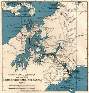 1917 Antique Panama Canal Map 1920s Maritime Canal Map