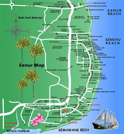 sanur map detail maps bali indonesia