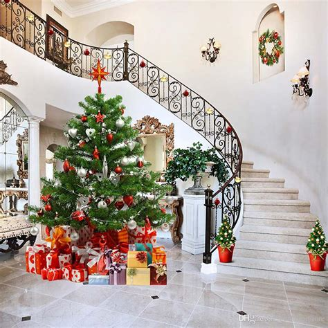 2019 vinyl backdrops indoor staircase decorated house christmas tree family gift