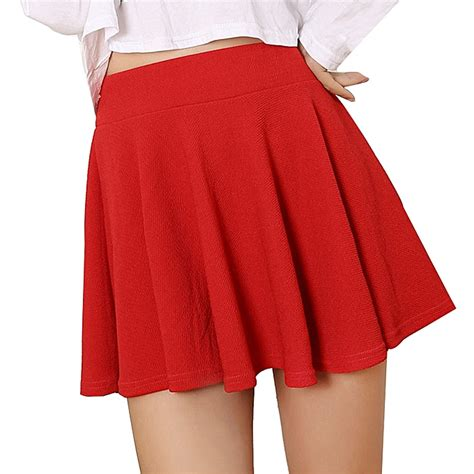 Buy Eissely Women Lady High Waist Plain Skater Flared
