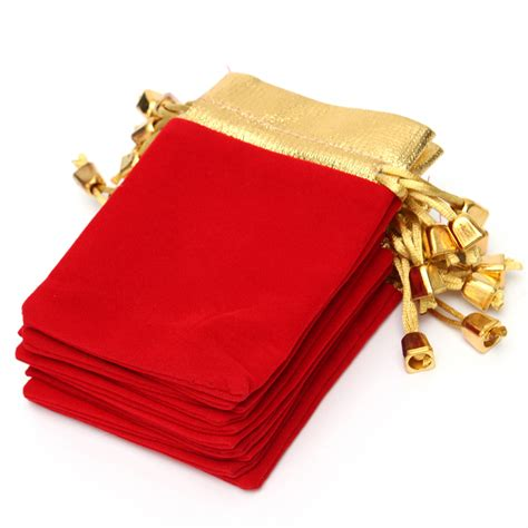 pcs golden red flannelette drawstring pouch jewelry gift