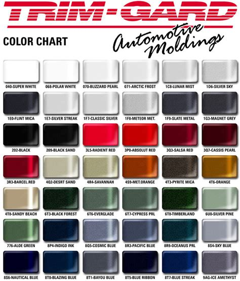 metallic automotive paint color chart images