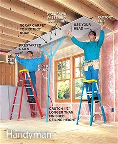 Hanging Drywall On Ceiling Or Walls by How To Hang Drywall Like A Pro The Family Handyman