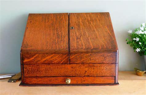 antique golden oak wooden stationery box  drawer letter rack desk cabinet antiques news