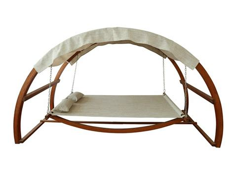 Wooden Hammock With Canopy by Outdoor Hammock Swing Bed Canopy Wood Swinging Patio