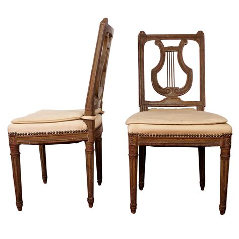 19th century lyre back swedish side chairs pair at 1stdibs