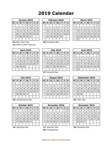 Yearly printable calendar 2019 with holidays | Free ...